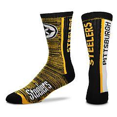 Men's For Bare Feet Pittsburgh Steelers Bar Stripe Crew Socks