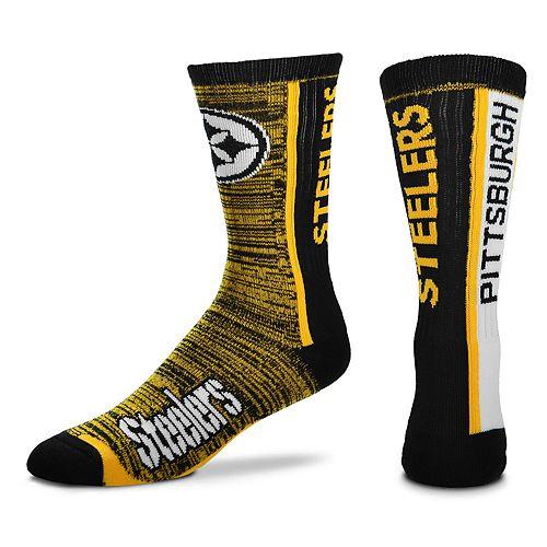657d0232 Men's For Bare Feet Pittsburgh Steelers Bar Stripe Crew Socks