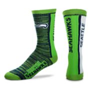 Men's For Bare Feet Seattle Seahawks Bar Stripe Crew Socks