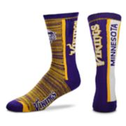 Men's For Bare Feet Minnesota Vikings Bar Stripe Crew Socks