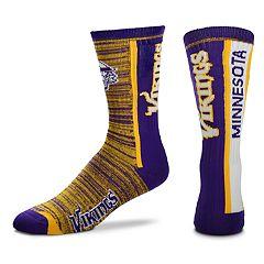 Men's For Bare Feet Minnesota Vikings Bar Stripe Crew Socks