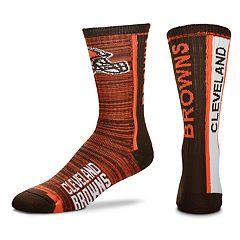 Men's For Bare Feet Cleveland Browns Bar Stripe Crew Socks