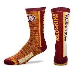 Men's For Bare Feet Washington Redskins Bar Stripe Crew Socks