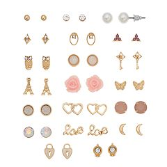 Mudd® Owl, Heart & Butterfly Nickel Free Stud Earring Set