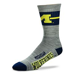 Adult For Bare Feet Michigan Wolverines Deuce Band Crew Socks
