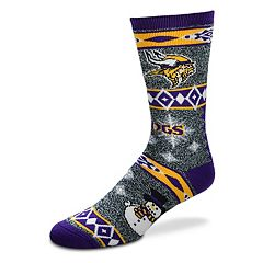 Adult Minnesota Vikings Holiday Motif Crew Socks