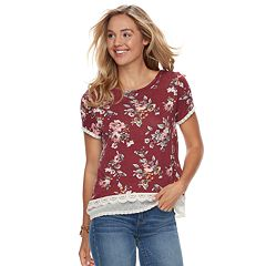 Juniors' Rewind Printed Lace Tee
