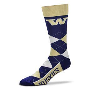 Adult For Bare Feet Washington Huskies Argyle Crew Socks