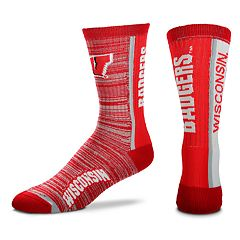 Adult For Bare Feet Wisconsin Badgers Bar Stripe Crew Socks