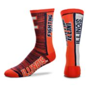 Adult For Bare Feet Illinois Fighting Illini Bar Stripe Crew Socks