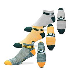 Men's For Bare Feet Green Bay Packers 3-Pack Low-Cut Socks