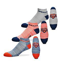 Men's For Bare Feet Chicago Bears 3-Pack Low-Cut Socks