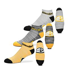 Men's For Bare Feet Pittsburgh Steelers 3-Pack Low-Cut Socks