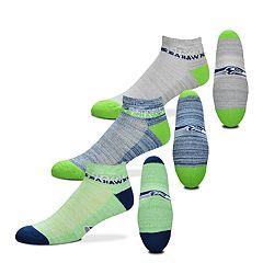 Men's For Bare Feet Seattle Seahawks 3-Pack Low-Cut Socks