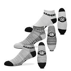 Men's For Bare Feet Oakland Raiders 3-Pack Low-Cut Socks