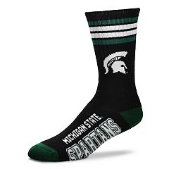 For Bare Feet Michigan State Spartans Duece Black Crew Socks