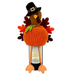 Celebrate Fall Together Turkey on a Pumpkin Wine Bottle Hugger