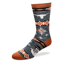 Adult For Bare Feet Texas Longhorns Team Ugly Holiday Crew Socks