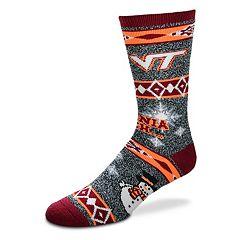 Adult For Bare Feet Virginia Tech Hokies Team Ugly Holiday Crew Socks