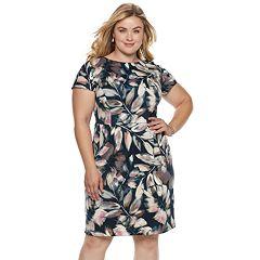 Plus Size Suite 7 Leaf Print Dress