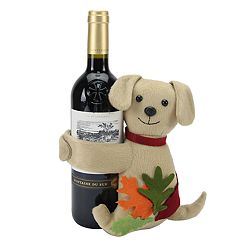 Celebrate Fall Together Puppy Leaf Wine Bottle Hugger