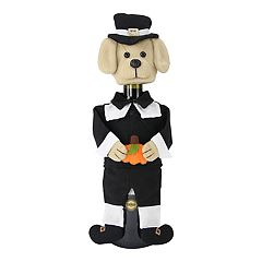 Celebrate Fall Together Puppy Pilgrim Wine Bottle Cover