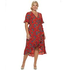Plus Size Suite 7 Floral Crepe Faux-Wrap Dress