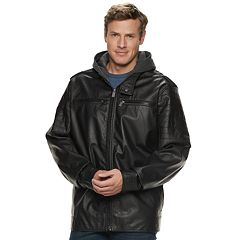 Big & Tall Urban Republic Hooded Faux-Leather Jacket