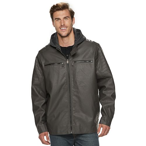Big & Tall Urban Republic Hooded Faux-Leather Jacket