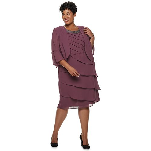 Plus Size Le Bos Beaded & Tiered Jacket Dress