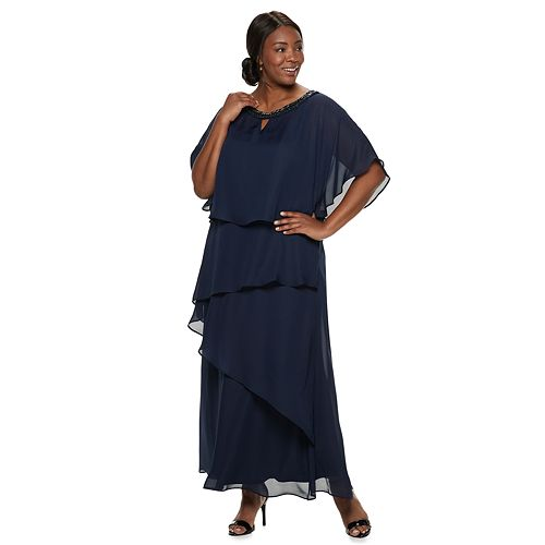Plus Size Maya Brooke Tiered Poncho Sequin Dress