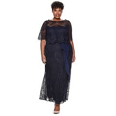 Plus Size Maya Brooke Ruched Lace Dress