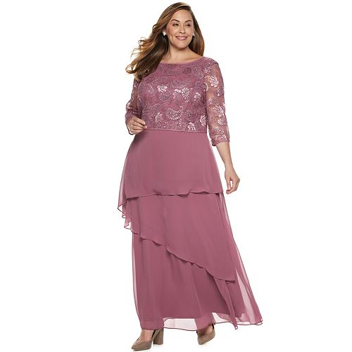 Plus Size Le Bos Tiered Chiffon Dress