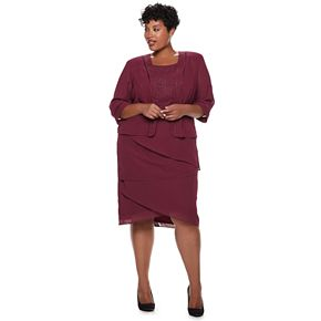 Plus Size Le Bos Glittered & Tiered Jacket Dress
