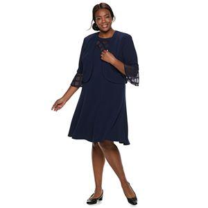 6657f6eaa32f5 Plus Size Maya Brooke Embroidered Dress   Jacket Set. Regular