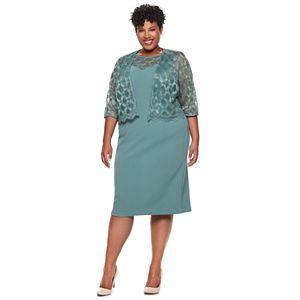 1a51c6d9f0ea8 Plus Size Maya Brooke Embroidered Dress   Jacket Set. Sale