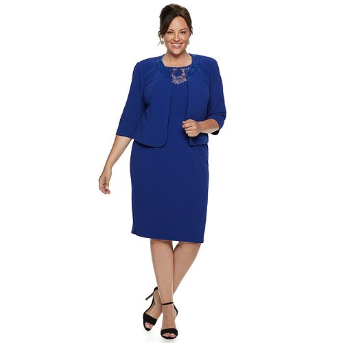 aa8d6a3066b Plus Size Maya Brooke Embroidered Dress   Jacket Set