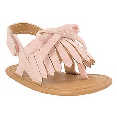 Baby Girl Wee Kids Fringe & Bow Sandal Crib Shoes
