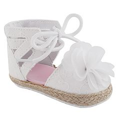 Baby Girl Wee Kids Eyelet & Flower Sandal Crib Shoes