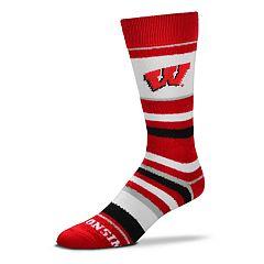 Men's For Bare Feet Wisconsin Badgers Crew Cut Socks