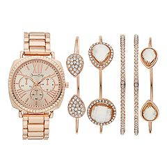 Women's Dress Watch & Crystal Bracelet Set