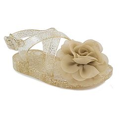 Baby Girl Wee Kids Flower & Glitter Champagne Jelly Sandal Crib Shoes