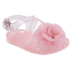 Baby Girl Wee Kids Flower & Glitter Pink Jelly Sandal Crib Shoes