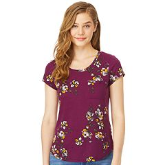 Juniors' Wallflower Scoopneck Floral Tee