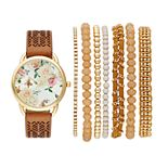 Women's Floral Perforated Leather Watch & Bracelet Set