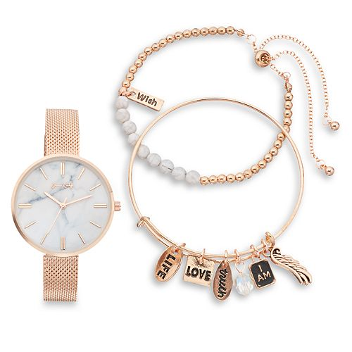 Women's Mesh Band Watch & Guardian Angel Charm Bracelet Set