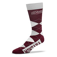 Adult For Bare Feet Montana Grizzlies Argyle Crew Socks