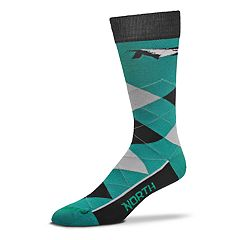 Adult For Bare Feet North Dakota Fighting Hawks Argyle Crew Socks