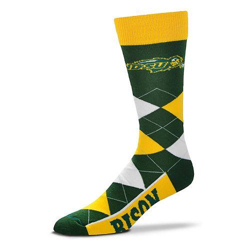 Adult For Bare Feet North Dakota State Bison Argyle Crew Socks