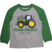 """Boys 4-7 John Deere Tractor """"John Deere Est. 1837"""" Raglan Graphic Tee"""
